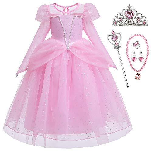 O.AMBW Vestido de Princesa para Nias Vestido con Perlas Cosplay Miss Princesa Dama de Honor Fiestas Disfraces y Accesorios Reyes Magos Halloween para Nias de 2 a 9 aos