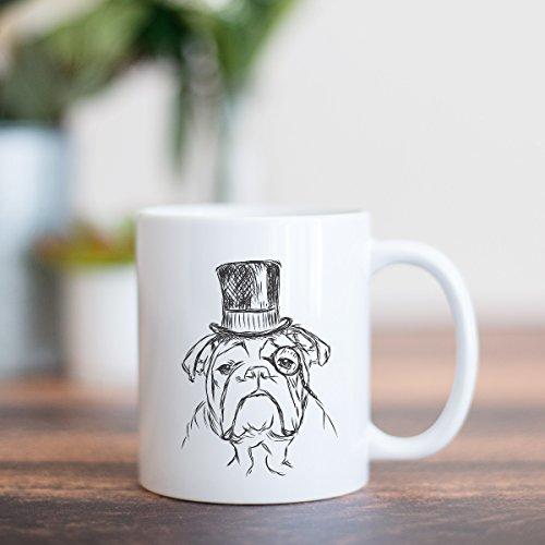 Winston English Bulldog Tophat Coffee Mug 11oz Dog Lover Gift for Him Her
