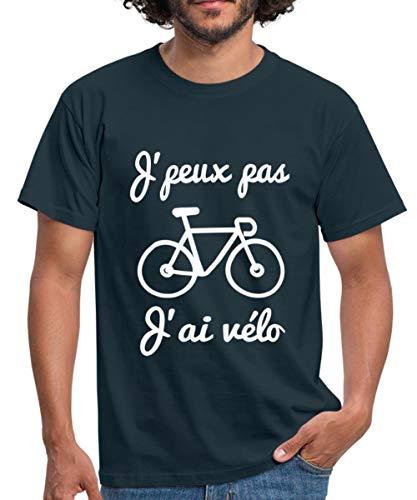 Spreadshirt J'Peux Pas J'Ai Vélo T-Shirt Homme, L, Marine