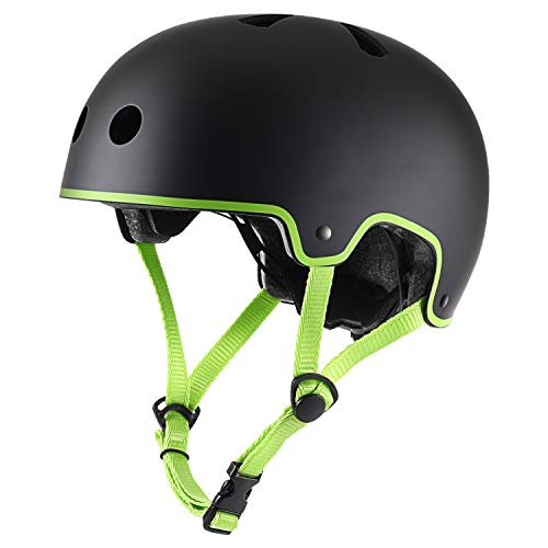TurboSke Skateboarding Helmet, Rollerblading Longboard Roller Skate Helmet for Adult, Kids, Youth, Men, Women (S/M, Green & Black)