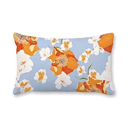 happygoluck1y Fundas de cojín rectangulares de terciopelo, diseño floral sin costuras con peonías de color naranja coral, 30 x 50 cm, funda de almohada decorativa para sofá, niñas y mujeres