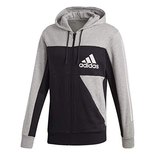 adidas Sport Id Color Block Full-Zip Hooded Sweatshirt, Medium Grey Heather/Black, X-Large
