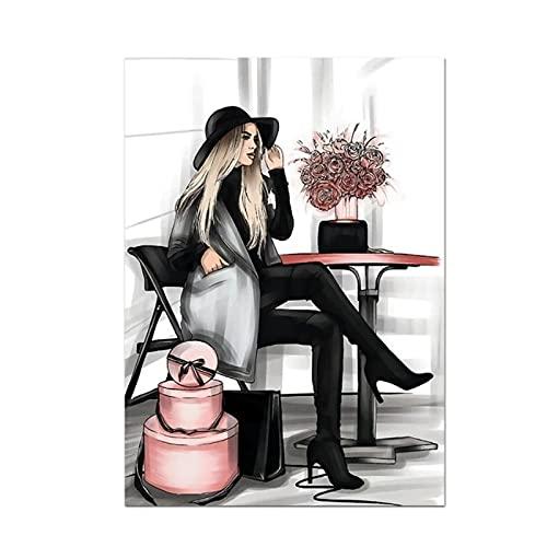 Wsxyhn Libro de Moda Paris Perfume Vestido Lápiz Labial Arte de la Pared Pintura en Lienzo Carteles e Impresiones nórdicos Cuadros de Pared para decoración de Sala de estar-50x70cmx1pcs - Sin Marco
