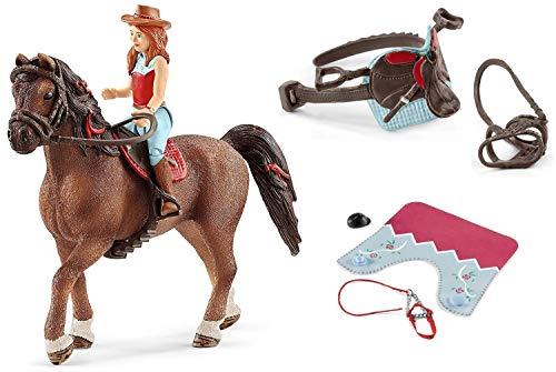 3in1-SET Schleich Pferde Horse Club - Hannah & Cayenne mit extra Pferdedecke und Sattel 42411 + 42459 + 42489