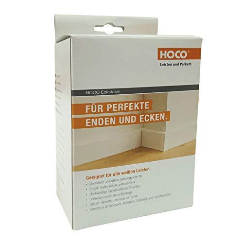 Hoco Eckstäbe, Ecktürme, Innenecken Außenecken aus Holz (lackiert) für weiße Sockelleisten, Inhalt: 15 Stück (61 x 20 x 20 mm (E3), weiss)
