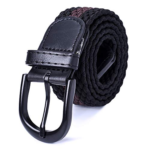 "Mile High Life | Braided Stretch Elastic Belts | Pin Oval Solid Black Belt Buckle | PU Loop End Tip Men/Women/Junior(Black Brown, X-Small 24""-26"" (31"" Length))"