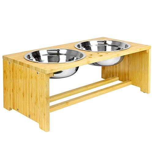 Maison & White Bols doubles pour animaux de compagnie   Chien / Chat Bols en Métal 2 en 1 pour Nourriture et Eau   Mangeoire sur pied (Moyen)