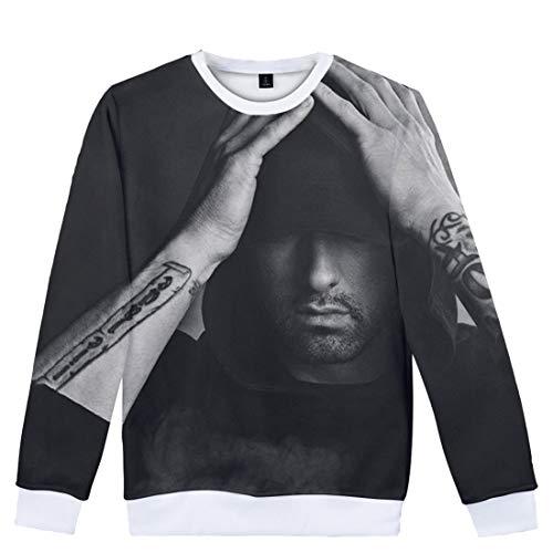 CTOOO Neu Herren Damen Trend Eminem 3D Druck Sweatshirt, Langarm Pullover Jacke für Männer und Frauen Große Größe Schwarz XXS-XXXXL