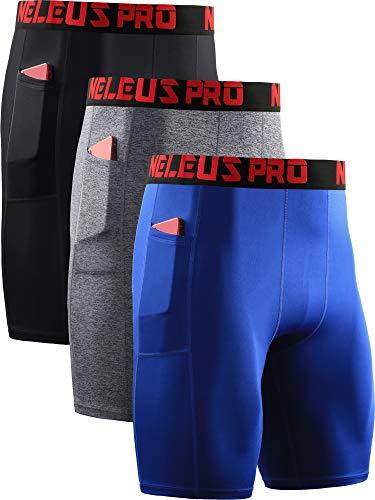 Neleus Men's Compression Shorts with Pockets 3 Pack,6064,Black/Grey/Blue,US M,EU L