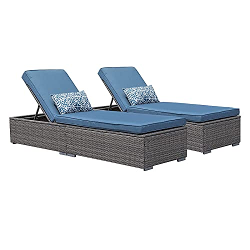Patiorama Outdoor Patio Chaise Lounge Chair, Elegant Reclining Adjustable Pool Rattan Chaise Lounge Chair with Cushion, Grey PE Wicker, Steel Frame, Blue, Set of 2