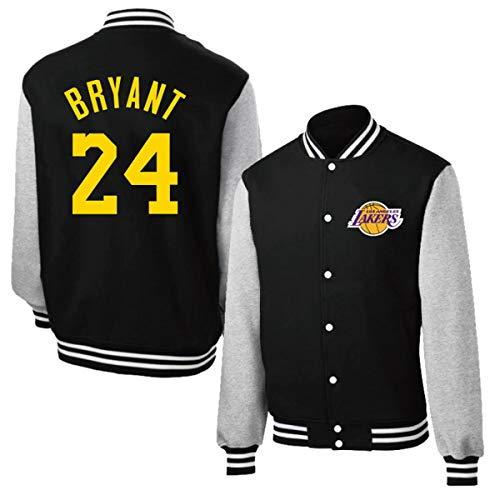 Neutro Lakers Kobe # 24 Jersey, Botones de Metal Top Coat, Baloncesto Camiseta de Entrenamiento, Uniforme de béisbol de los Hombres y Las Mujeres de Manga Larga,L