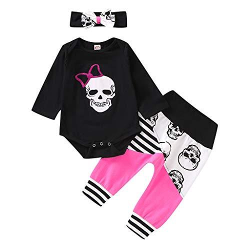 Sensail Costume pour Enfants Costumes d'halloween, imprimés de crâne à Manches Longues pour bébés et Pantalons à Rayures + Bande de Cheveux Costume Trois pièces