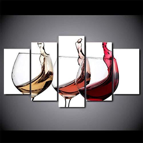 SJYHNB Cuadro Lienzo Moderno Color y copa de vino HD Imagen De Póster Impresión Artística, Pintura Decorativa para Salón De Hogar 5 Piezas 100 x 55cm