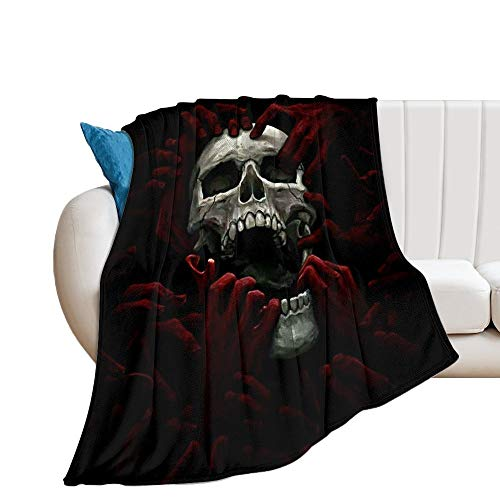 Custom made Manta de forro polar ultra suave con diseño de calavera negra, ideal para sofá o cama, para adultos y niños, 150 x 130 cm