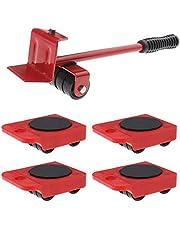 5 Stks Meubilair Moving Lifter Shifter Mover Kit 4 Roller Sliders Laadgewicht 150 KG voor banken Koelkast Wasmachine Sofa Bed Boekenkast Rood