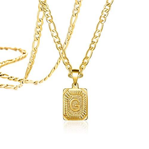 Long Chain Necklaces for Men Women Teen Girls Boys Mom Dad 18K Gold Initial Letter G Stainless Steel Figaro Chain Monogram Fashion Trendy Pendant Medallion Daughter Son