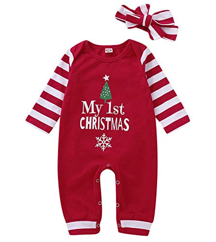 Christmas Newborn Infant Baby boy Girl Clothes Outfit Long Sleeve Romper Pajama+Striped Headband Set Red
