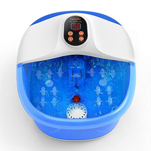 Bañera Para Pies Hidromasaje Pies, Carevas Masajeador de Pies Agua con Burbujas, Control de Temperatura para Aliviar el Estrés de los Pies, Spa