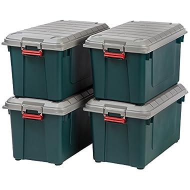 IRIS 82 Quart Weathertight Storage Box, Store-It-All Utility Tote, 4 Pack, Green