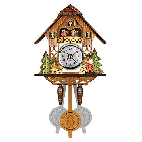 Joyfitness Antiguo Reloj de Pared de Cuco de Madera Time Bird Bell Swing Alarm Watch Home Art Decor 12x23x5cm