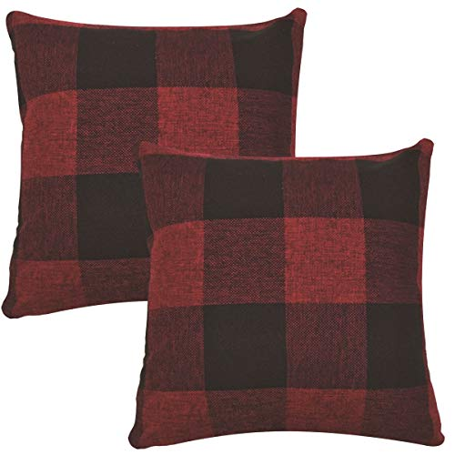 ORANIFUL Tartan Cushion Covers 18x18 Inches set of 2 Linen Decorative Square Throw Pillow Case for Sofa Couch Bed Home Decor Car 45cm x 45cm (Burgundy&Black)