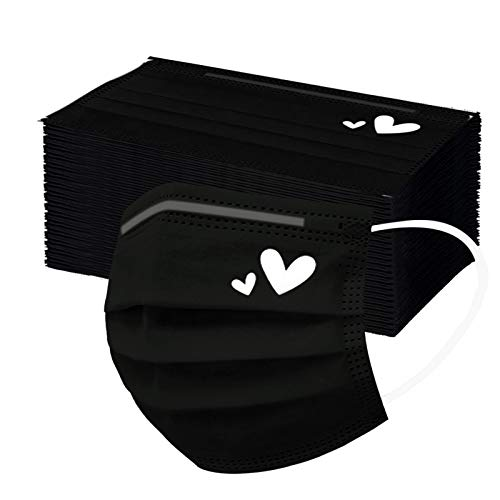 50PCS Black Disposable Breathạble Face_Mask with Hearts Designs, 3 Ply 𝐌𝐚𝐬𝐤s for Coronàvịrụs Protectịon, Çovịd Dust_Masks for Adults (White)