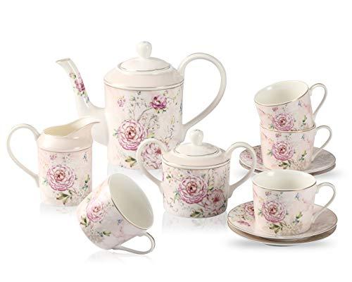 GuangYang Juego de té de porcelana fina con flor de peonía-1 tetera 1 azucarero (450 ml) 1 crema (350 ml) 4 tazas (220 ml) y 4 platillos