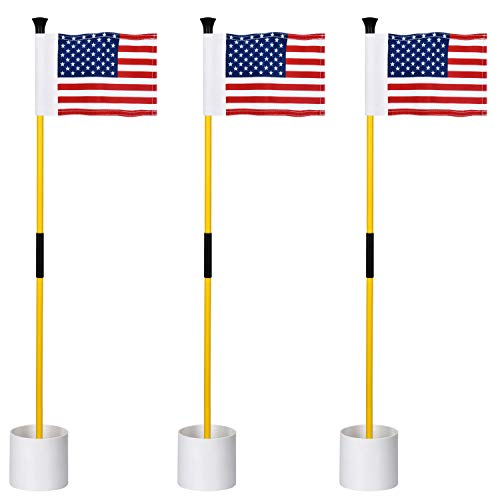 KINGTOP Miniature Golf Flagsticks, Practice Putting Green Flags for Yard, Golf Pin Flag Hole Cup Set, Portable 2-Section Design with US Flags, 3ft Pole, 3-pack