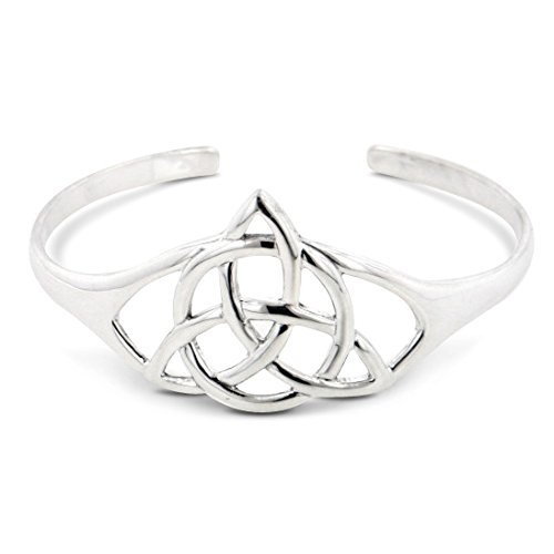 Pagan or Christian Triquetra Celtic Trinity Knot of the Goddess Sterling Silver Cuff Bracelet 7'