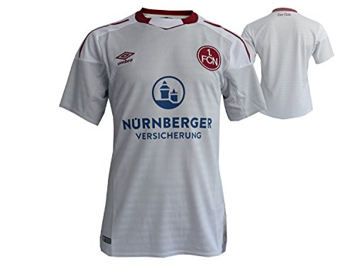 Umbro 1.FC Nürnberg Kinder Fußball Jersey Away Weiß FCN Club Auswärts Fussball Trikot Bundesliga 2017/18, Gr.158