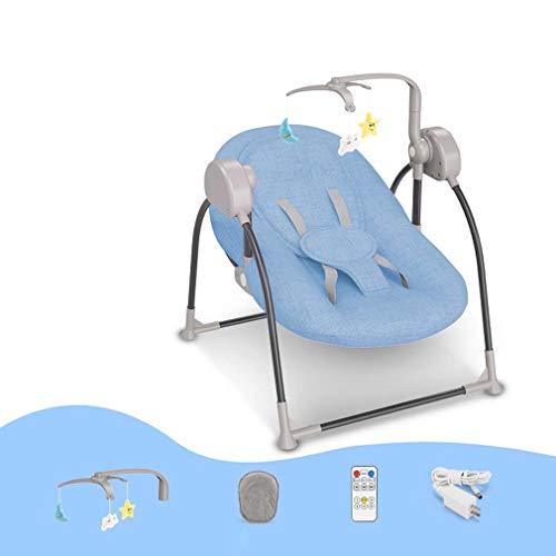 ZWQ kids Chaise électrique à Bascule bébé, transat Berceau Pliant bébé, Chaise de Confort Nouveau-né endormi, Le Shaker d'enfant à Bascule pour bébé 0-2,A