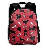 Bonita mochila para niños con diseño de caniche de Happy Poodle rojo para niños y niñas, bolsa de viaje para la escuela