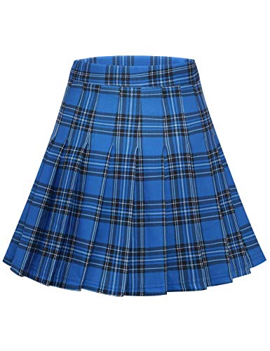 MuaDress 9005 Damen Faltenrock Karierter Hohe Taille Minirock Schulmädchen Gefaltete Skater Rock Royalblau Kariert S