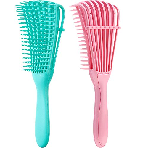 2 Pieces Detangling Brush for Afro America/ African Hair Textured 3a to 4c Kinky Wavy/ Curly/ Coily/ Wet/ Dry/ Oil/ Thick/ Long Hair Knots Detangler Easy to Clean Pink Green