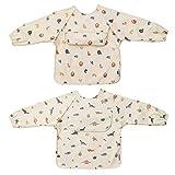 ÜneeQbaby Baberos impermeables para bebés y niños pequeños, paquete de 2, de manga larga Oeko-TEX para alimentar y jugar desordenado con bolsillo en el pecho, overol