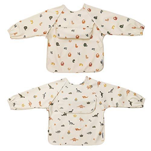 ÜneeQbaby Wasserdichte Baby- und Kleinkind-Lätzchen, 2 Stück Langarm, Oeko-TEX-zertifiziert, zum Füttern und chaotischem Spielen mit Brusttasche, Overall Mock, verstellbarer Verschluss mit Knöpfen.