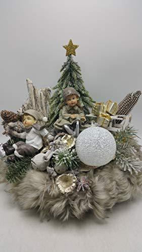 Weihnachtskranz Adventskranz Kunstfloristik LED-Kugel Kinder Schlitten Geschenke