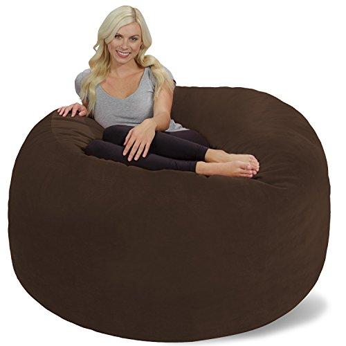 Chill Sack Bean Bag Chair: Giant 6' Memory Foam Furniture Bean Bag - Big Sofa with Soft Micro Fiber Cover, Brown Pebble