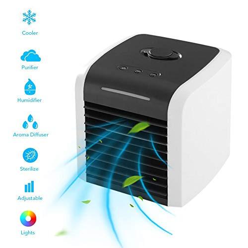 Raffreddatore evaporativo, 5 in 1 mini condizionatore d'aria con luce LED e purificatore, mini ventilatore portatile, aria condizionata personale, ventilatore da tavolo USB, per casa, auto all'aperto