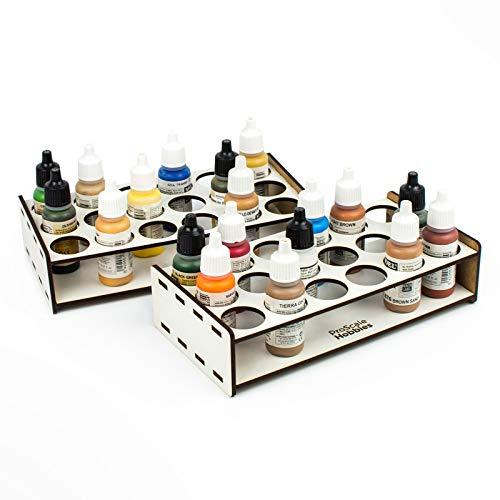 Soporte organizador de pinturas de modelismo, accesorios para maquetas, pinturas para miniaturas y warhammer. Kit paint stand para organizar pinturas acrílicas y pinceles miniaturas (26 mm)