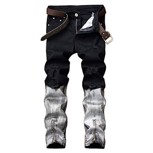 Beastle Pantalones Vaqueros para Hombre, Personalidad Europea y Americana, Cremallera Rasgada, Tendencia, Pantalones Vaqueros a la Moda, Pantalones de Mezclilla Hermosos a Juego 34