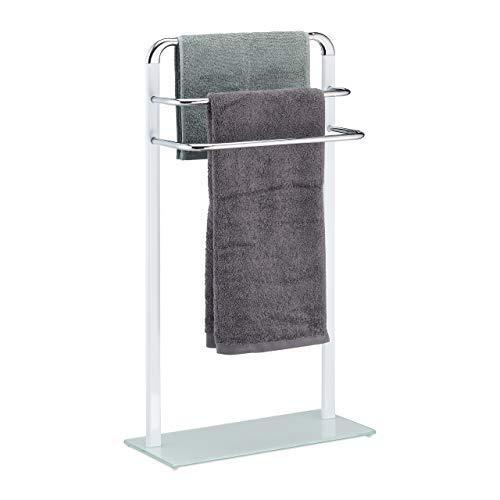 Relaxdays, weiß/Silber Handtuchhalter, Badetuchhalter aus verchromtem Metall, HBT 80x45x20 cm, Handtuchständer 3-armig