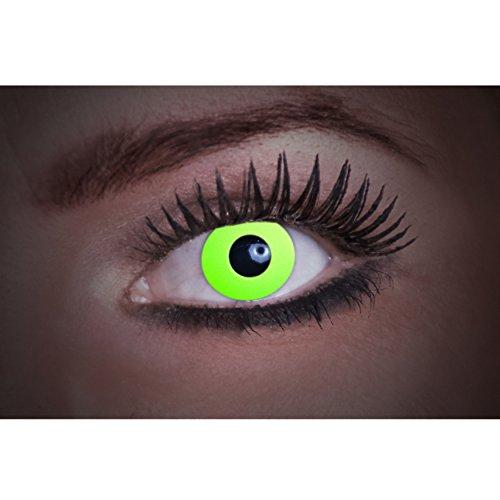 Eyecatcher Flash Green Color Fun, farbige UV-Kontaktlinsen / Motivlinsen, leuchten bei Schwarzlicht, 1er Pack (1 x 2 Stück)