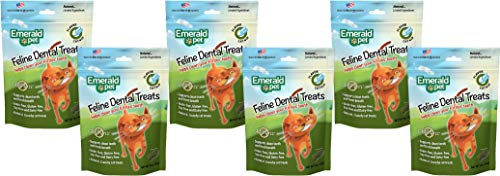 Emerald Pet 6 Pack of Catnip Feline Dental Treats, 3 Ounces Each, Grain-Free Cat Treats Made in The USA