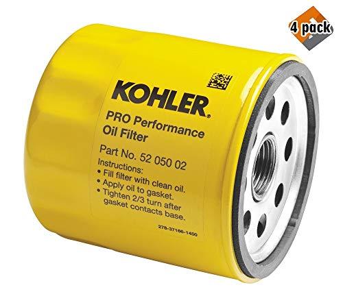 Kohler 52 050 02-S Engine Oil Filter Extra Capacity for CH11 - CH15, CV11 - CV22, M18 - M20, MV16 - MV20 and K582 4 Pack