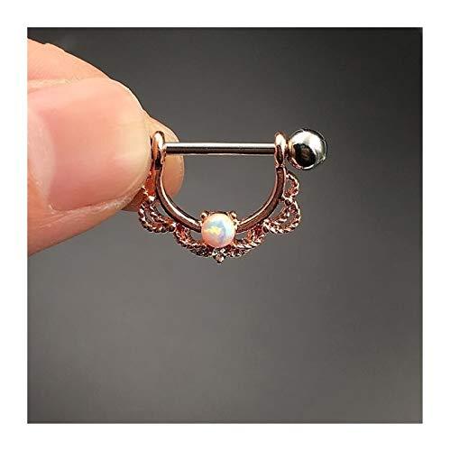 Jacky's 2pcs Titanio pezón Anillo Piercing joyería Corporal (Color : Rose Gold White Opal)