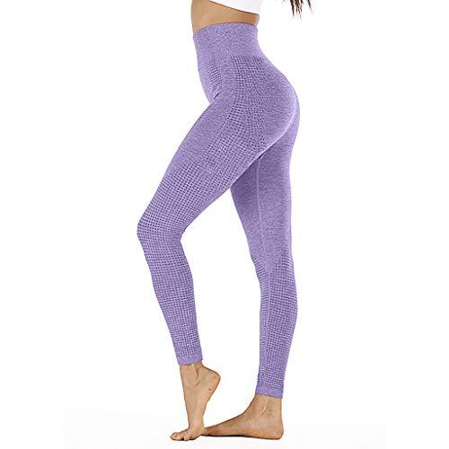 WOZOW Pantalon Femme Legging De Sport Fitness Longue Taille Haute pour Yoga avec des Poches Hanche Point sans Couture Vitesse Secs Remise en Forme(Violet,S)