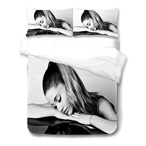 SMNVCKJ Ariana Grande - Juego de ropa de cama con fundas de almohada, ropa de cama 3D 100% microfibra, gruesa y suave, adecuado para niños y niñas (7,135 x 200 cm)