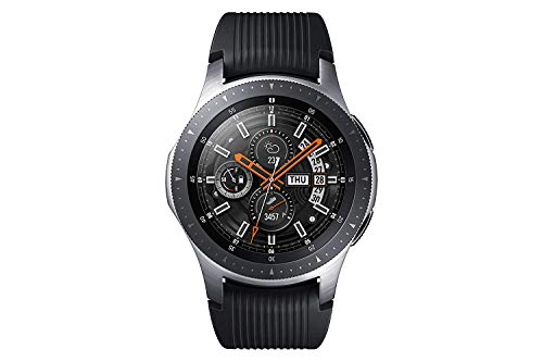 Samsung Galaxy Watch, Runde Bluetooth Smartwatch Für Android, drehbare Lünette, Fitness-tracker, 46mm, ausdauernder Akku, inklusive 2x araree Schutzfolie, Silber (Deutche Version)