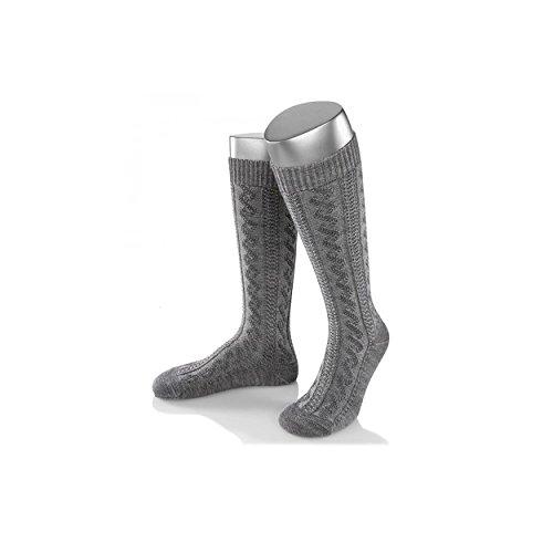 ALMBOCK graue Herren Trachtenstrümpfe - Trachten Kniestrümpfe für Männer in grau - Gaudi Oktoberfest Tracht Stulpen in Größe 39-47